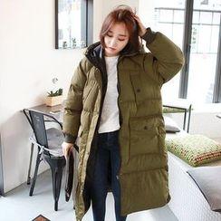 Seoul Fashion - Hooded Zip-Up Long Padded Coat
