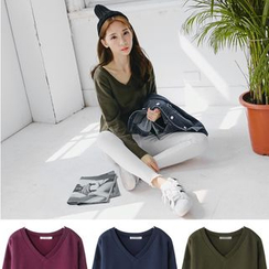 OrangeBear - V-Neck Vented Knit Top