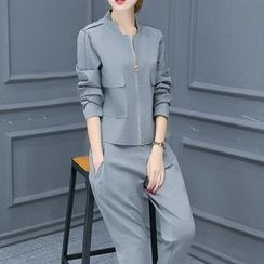Ashlee - 套装: 拉链外套 + 哈伦长裤