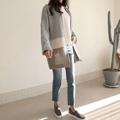 Hello sweety - Wool Blend Color-Block Cardigan