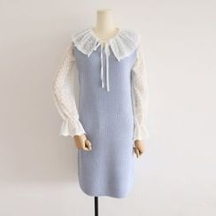 Jelly Cake - Sleeveless V-Neck Plain Knit Dress