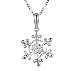 MaBelle - 18K/750 White Gold Diamond Snow Flake Pendant (0.07 cttw) (FREE 925 Silver Box Chain)