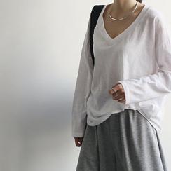 NANING9 - V-Neck Loose-Fit T-Shirt