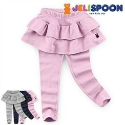 JELISPOON - Girls Inset Ruffle Mini Skirt Leggings