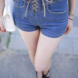 Bongjashop - High-Waist Denim Shorts