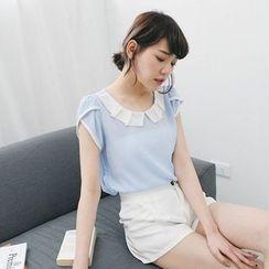 Tokyo Fashion - Short-Sleeve Frilled Collar Chiffon Top