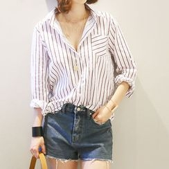 NANING9 - Pocket-Front Striped Shirt
