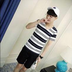 Hawoo - V-Neck Striped T-Shirt