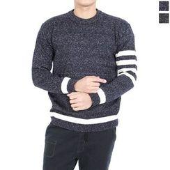 Seoul Homme - Contrast-Trim Mélange Sweater