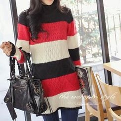 REDOPIN - Color-Block Cable-Knit Sweater
