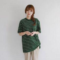 JUSTONE - Crew-Neck Stripe T-Shirt