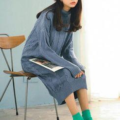 Tulander - 樽领麻花针织连衣长裙
