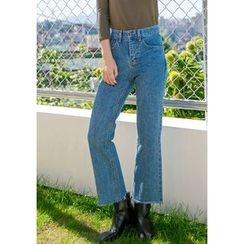 GOROKE - Washed Semi Boot-Cut Jeans