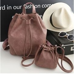 Merlain - Set: Faux Leather Drawstring Backpack + Bucket Bag