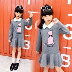 Pegasus - Kids Cat Long-Sleeve Collared Dress