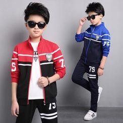 Pegasus - 童裝套裝: 數字插色夾克 + 運動褲