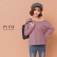 PUFII - 素面斜V領針織上衣