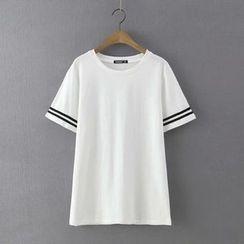 Ainvyi - Contrast Trim Crewneck T-Shirt