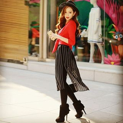 Dabuwawa - Inset Striped Skirt Leggings