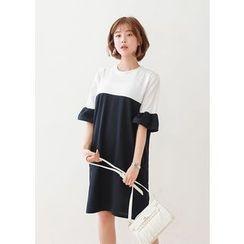 J-ANN - Frill-Cuff Two-Tone Shift Dress