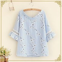 Fairyland - V-Neck Flower Embroidered Elbow Bell Sleeve Top