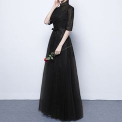 Luxury Style - Sequined Lace Elbow Sleeve Evening Gown