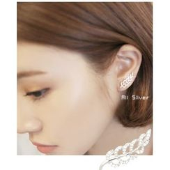 Miss21 Korea - Rhinestone Leaf Earring (Single)