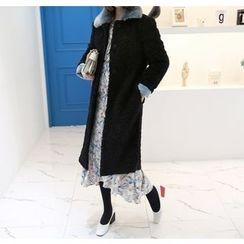Miamasvin - Detachable-Collar Faux-Fur Coat