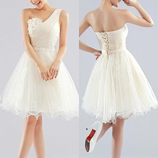 Royal Style - One Shoulder Flower Appliqué Mini Prom Dress