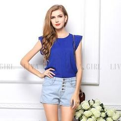 LIVA GIRL - Cap-Sleeve Chiffon Top