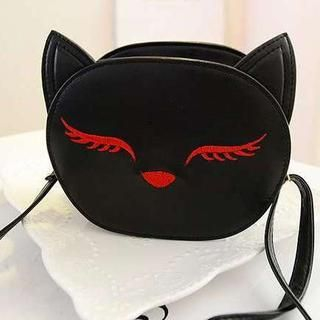 M.R. - Faux-Leather Embroidered Cat Cross Bag