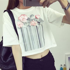 Kissu - Print Elbow-Sleeve Cropped T-shirt