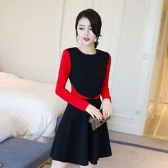 Emeline - Two-Tone Long-Sleeve A-Line Dress