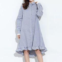 Myrtle - Gingham Long-Sleeve Shirtdress