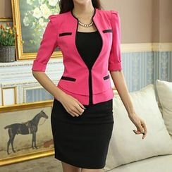 Caroe - Set: Color-Block Blazer + Pencil Skirt