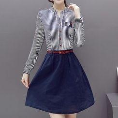 Donnae - Striped Shirtdress (Short-Sleeve / Long-Sleeve)