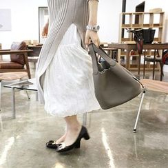 MARSHMALLOW - Banded-Waist Shirred Maxi Skirt