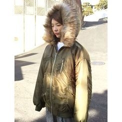 FROMBEGINNING - Faux-Fur Hood Zip Padded Jacket