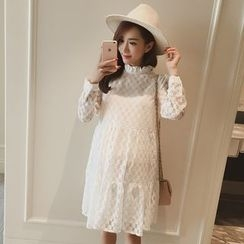 The Mommy Club - Maternity Frill Neck Lace Long-Sleeve Dress