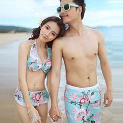 Sunset Hours - Couple Matching Floral Print Halter Bikini / Swim Shorts