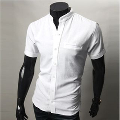 WIZIKOREA - Short-Sleeve Mandarin-Collar Shirt