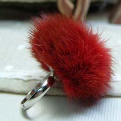 MyLittleThing - Little Faux-Fur Ring (Red)