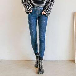 Seoul Fashion - Band-Waist Brushed-Fleece Lined Skinny Jeans
