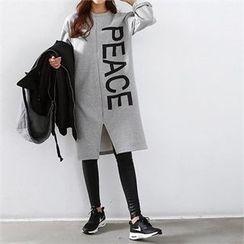 PEPER - Lettering Slit-Front Long T-Shirt
