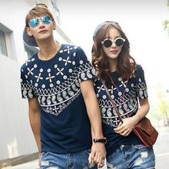 Evolu Fashion - Mixed Print Short-Sleeved Couple T-Shirt
