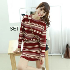 Dodostyle - Set: Stripe Top + Band-Waist Ruffle-Hem Skirt
