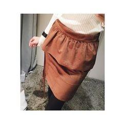 ATTYSTORY - Set: Faux-Suede Pencil Skirt + Apron