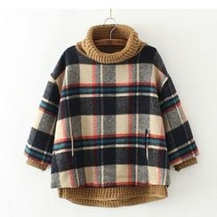 Citree - Mock Two Piece Turtleneck 3/4 Sleeve Plaid Sweater