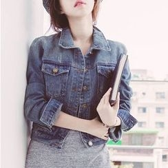 Naito - Washed Buttoned Cropped Denim Jacket