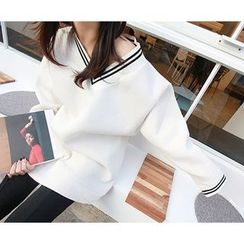MARSHMALLOW - Contrast-Trim Long Knit Top